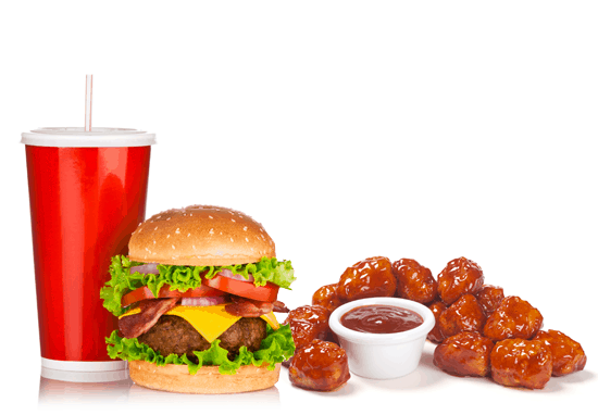 Hamburger meal with drinks and chicken bites